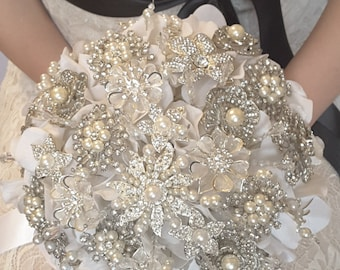 Classic heirloom pearl brooch bouquet -- made-to-order wedding petal brooch bouquet.  FULL PRICE listing