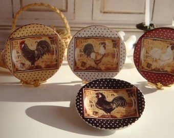 Country Farm Rooster Dollhouse Miniature Plate