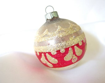 Vintage Shiny Brite Christmas Ornament - Silver and Hot Pink with Gold Glitter Ornament