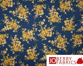 Yellow and Blue Floral Fabric, Victoria's Terrace by Choice, Quilt or Craft Fabric, Fabric by the Yard