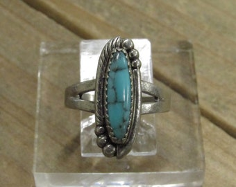 Vintage Sterling Silver Turquoise Ring Size 5 3/4