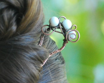 White agate Copper hairpin Hair fork Hair pin Hair stick Hammered copper Bun pin Hair holder Hair jewelry Wire wrap hairpin gift for her