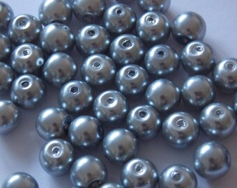 Set of 30 round pearls 8mm gray