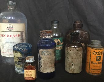 Assorted Bottles and Cans Bromoseltzer Carters Stanhome Panda Merrell Hinkles Oxford
