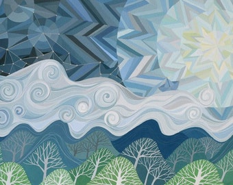 LARGE I Have Set Sail on a Fast Mountain art print, geometric chevron sky and moon, clouds, mountains, forest, paper boat constellations