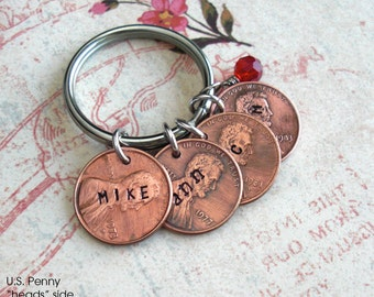 Penny Charm Pendant.. Includes 1 word .. U.S. Coins nickel dime  .. hammered coin, custom phrase, date, name stamped. Love kids anniversary