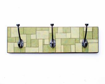 Green Clothes Hook, Yellow Coat Rack, Geometric Mosaic Rack, Recycled Wood Hook, Handmade Paper, Functional Wall Art