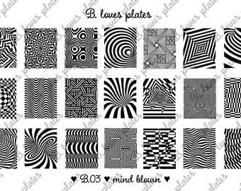 B.03 - mind blown - nail stamping plates (B. Loves Plates)