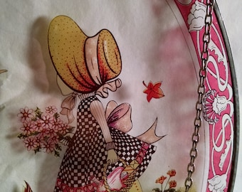 Holly Hobbie Style Glass Wall Hanging with chains