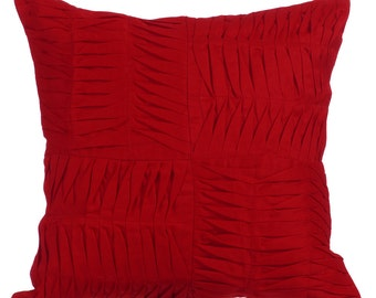 """Red Decorative Pillows Cover, 16""""x16"""" Cotton Linen Pillows Cover, Square Textured Pintucks Solid Color Pillowcases - Ripples Of The Heart"""