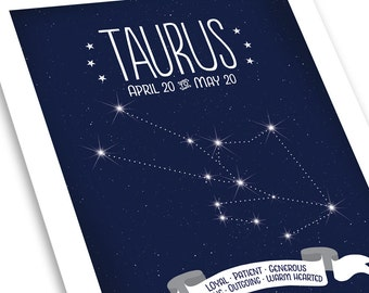 Taurus Constellation Art • Star Map on Starry Midnight Blue • Zodiac Traits - Available in Two Sizes: 8x10 and 11x14