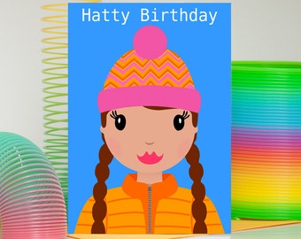 Hat Birthday Card, Happy Birthday Card For Her, Birthday Card For Climber, Rock Climbing Girl, Birthday Card For Best Friend, Teen Girl Card