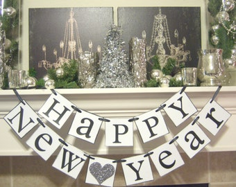 Happy New Year banner, Happy New Year, New Years party, New Years Decorations, Decor, New Years garland, New Years Eve banner