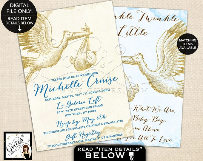 """Stork Baby Shower Invitation, Gold Ivory and Baby Blue, Vintage, Fall, Printable Invites, Boy Baby Shower Invitation, Double Sided, 5x7"""""""