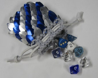 Dragon Scale Dice Bag in knitted Scalemail Dragonhide Armor Sky Knight