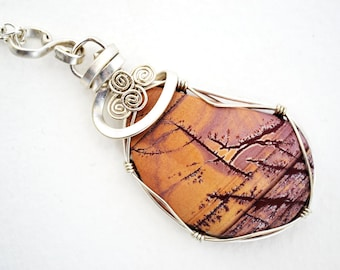 pendant picture jasper, pendant jasper landscape, picture jasper, picture jasper necklace, jasper brown, wire wrap jasper, picasso jasper
