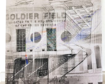 """Chicago 13"""" Canvas Wall Art - Soldier Field Photo Collage"""