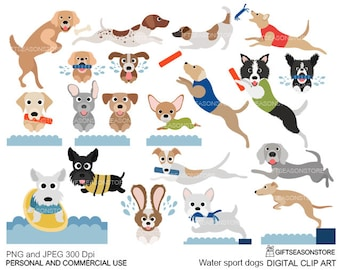 Water sport dogs digital clip art for Personal and Commercial use - INSTANT DOWNLOAD