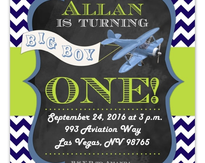 Airplane Birthday Invitation, Aviation1st Birthday Invitation, First Birthday Airplane, Digital Design, CUSTOM 4x6 or 5x7 size, You Print