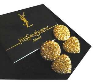YVES SAINT LAURENT ~ Authentic Vintage Gold Plated Heart Clip On Earrings - Rhinestones