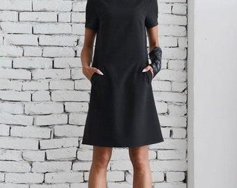 SALE Black Casual Dress/Little Black Dress/Midi Office Dress/Short Sleeve Tunic/Long Black Top/Oversize Black Sleeve Top/School Black Dress