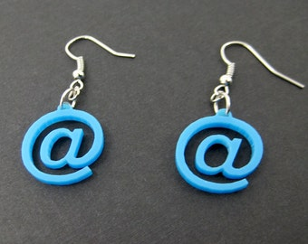 At Sign Geeky Computer Earrings - Laser cut in Blue Acrylic