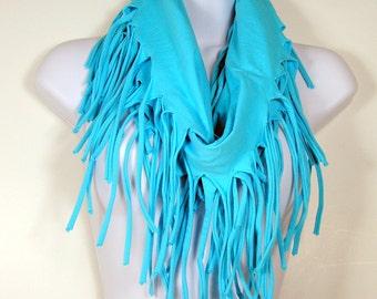 Aqua Blue Fringed Scarf T Shirt Scarves Turquoise Cotton Fringed Scarves Bright Blue String Scarf Fringed Infinity Scarf Fringed  Scarves