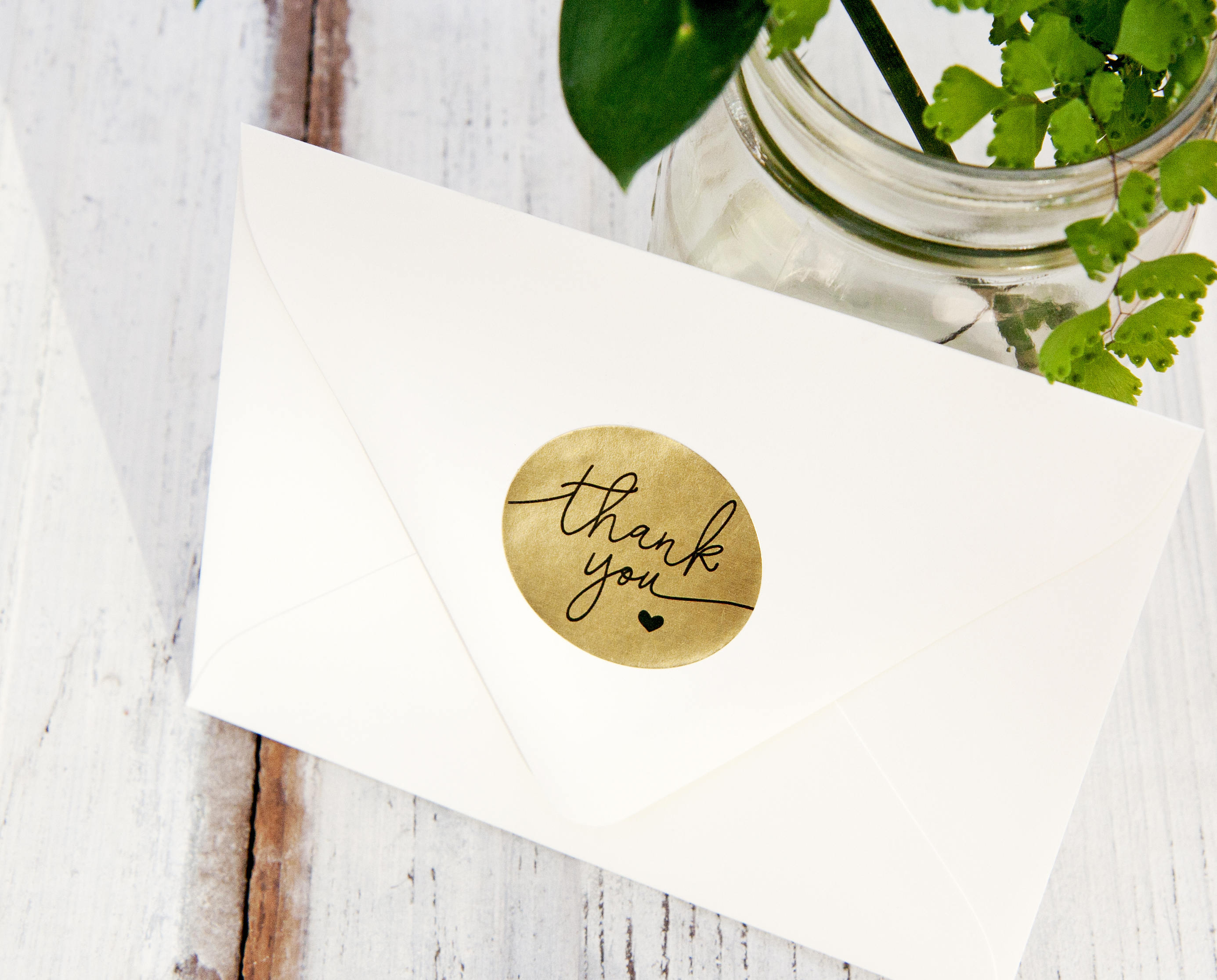 Gold Foil THANK YOU Stickers Wedding Favor Shower Thank