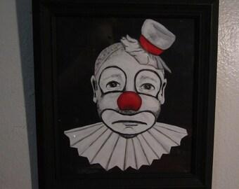 "Original ""It's all an act."" Sad Clown Painting"