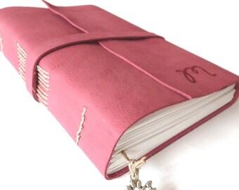 Personalised Leather Journal, Dark Fuchsia