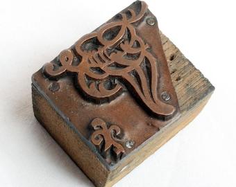 FLOURISH 1903-1953 Antique GERMAN Copper Letterpress Cut printing block