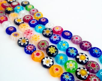 Millefiori flat glass beads - 10mm evil eye beads - flat round multicolor beads - millefiori flower beads - multicolor glass beads - mexican