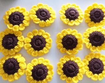 Lot 12 pcs Sunflower Crochet Flowers Handmade Applique  Embellishment sewing in White size 2.25 ""
