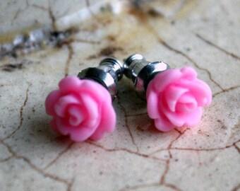 Earrings -- Teeny pink roses