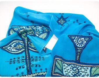 """SALE. Henna Design Silk Scarf. 8x52"""". Painted silk scarves. Hand painted silk scarf. Handpainted silk scarves. Hand-painted silk scarves."""