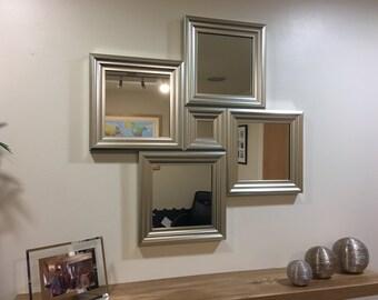 "EXCLUSIVE""The Longton"" Silver Diamond Wall Mirror 77 X 77 CM"