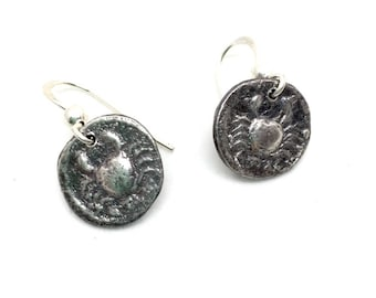 Mopsos Roman coin (crab side) - Silver Earrings