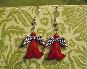 Angel Earrings, Red dangle earrings, Miniature doll, Beaded jewelry, Tiny guardian angel, Cute flower fairy charm, Best friends, Mini art