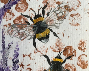 Bumbles with lavendar original ACEO/ Artists trading card. Mixed media. Free UK delivery.
