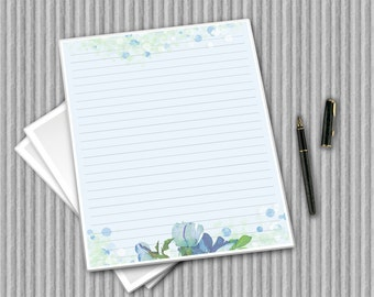 Digital Writing Paper - Printable Journal Pages - Blue and green stationery - Floral Notepaper - Flower Paper - Water colour printable paper