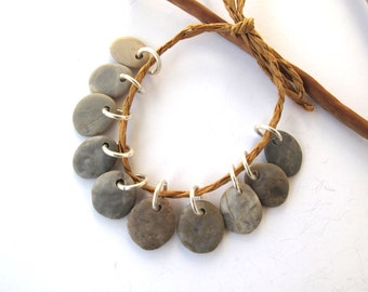 Rock Beads Small Mediterranean Natural Stone River Stone Jewelry Supplies Pairs SMOOTH GREY MIX 12-13 mm