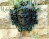 Green Man Fountain Printable Aged Bronze Statue Teal Verdigris Patina Bacchus Pan God Dionysus, God of Wine Horned Nymph God of the Wild