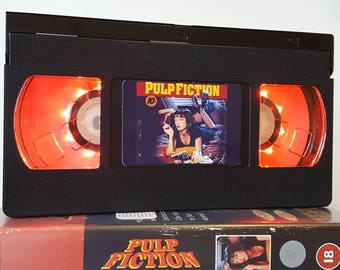 Retro VHS Lamp Pulp Fiction Night Light Table Lamp, Horror Movie . Order any movie! Great personal gift. Man Cave. Mothers Day Mothers Day