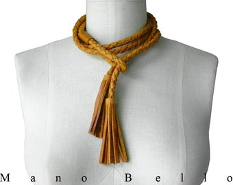 Tassel Necklace Braided Leather Rope Necklace, Tassel Choker Necklace Braided Rein Lariat, Honey Tan Leather Wrapping Necklace made to order