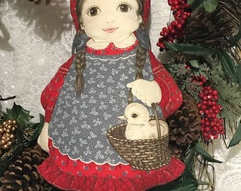 vintage Printed Small Pillow Doll Carrying a Basket with a Duckling Easter Decor Easter Gift