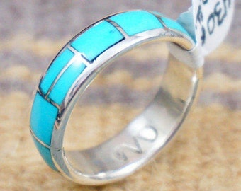 Handmade Zuni Full Wrap Inlay Turquoise Ring Bands by Gloria Chattin -Item # 430H