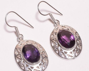 Amethyst Silver Plated/Overlay Earrings  Jewelry