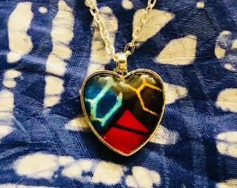 Nek-lace - Necklace - African inspired - heart pendant - Drie-eenheid (trinity) - blue
