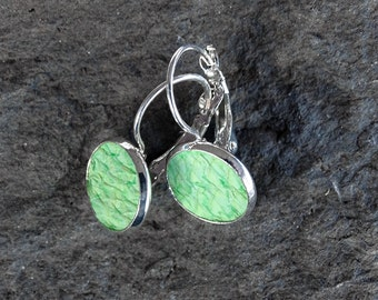 SET: Mint green salmon leather ring with earrings, robin egg green ring, seafoam fish leather