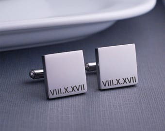 Roman Numeral Cuff Links, Custom Roman Numeral Date Cufflinks, Anniversary Gift for Husband, Personalized Gift for Him
